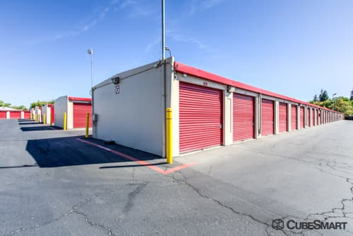 Self storage units with red roll-up doors in Orangevale, CA