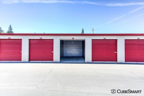 Self storage units with red roll-up doors in Citrus Heights, CA