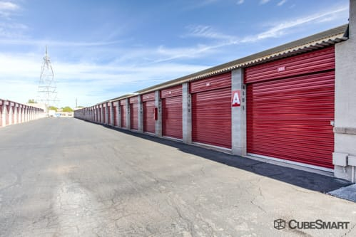 Self storage units with red roll-up doors in Mesa, AZ