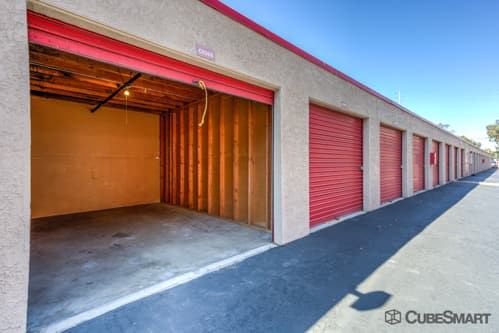 Self storage units with red roll-up doors in Santa Ana, CA