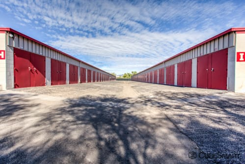 Self storage units with red roll-up doors in Tucson, AZ