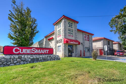 Exterior of a multi-story CubeSmart Self Storage facility in San Bernardino, CA