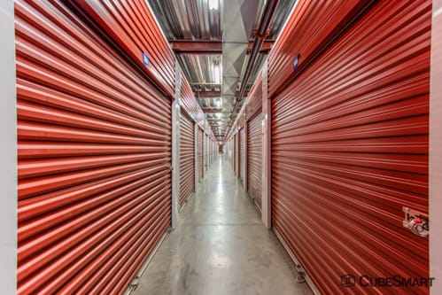 Interior self storage units with red doors in Las Vegas, NV