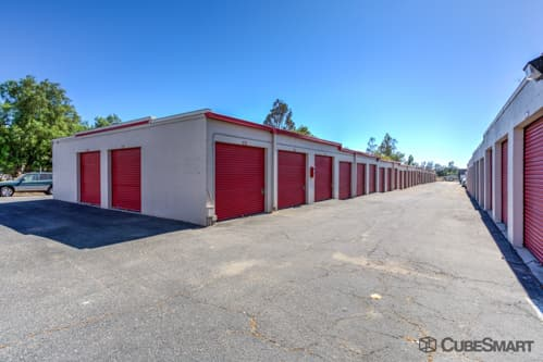 Self storage units with red roll-up doors in Fallbrook, CA
