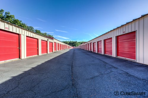 Self storage units with red roll-up doors in California, MD