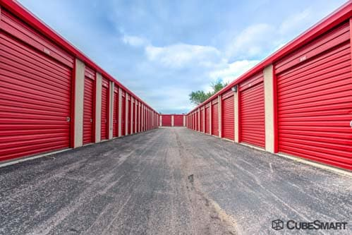 Self storage units with red roll-up doors in Colorado Springs, CO