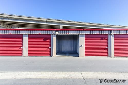 Self storage units with red roll-up doors in Benicia, CA