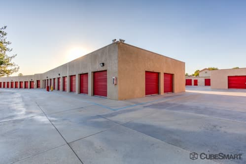 Self storage units with red roll-up doors in Murrieta, CA