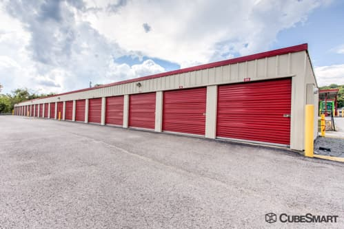 Self storage units with red roll-up doors in Nashville, TN