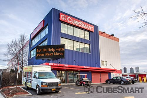 Exterior of a multi-story CubeSmart Self Storage facility in Bronx, NY