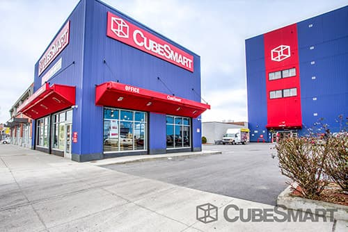Exterior of a multi-story CubeSmart Self Storage facility in Jamaica, NY
