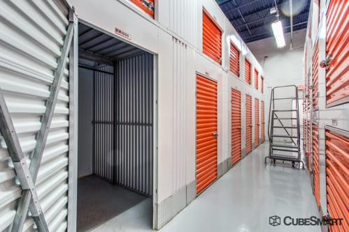 Interior self storage units with red doors in Tuckahoe, NY
