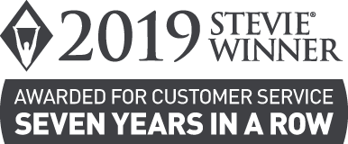 2019 Stevie Winner. Awarded for customer service seven years in a row.