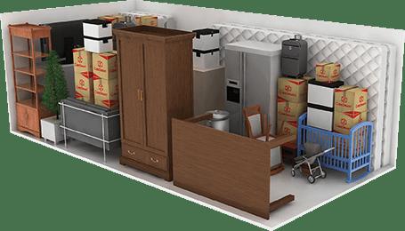 Items stored in a 10′x15′x8' storage unit