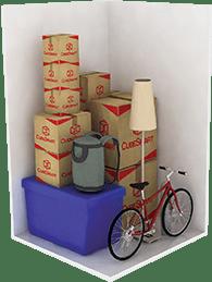Items stored in a 5′x5′x8′ storage unit